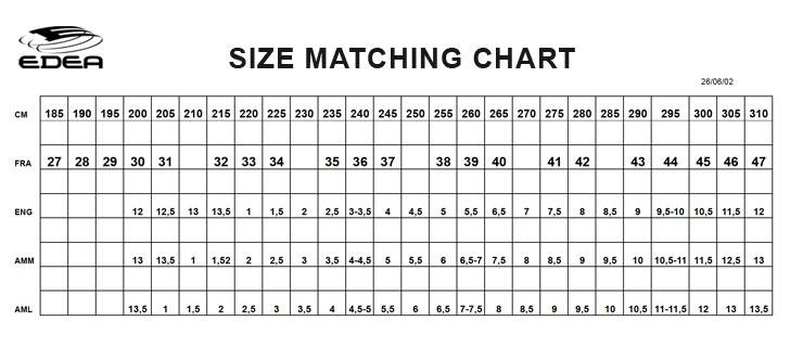 Size Chart For Kid Skates